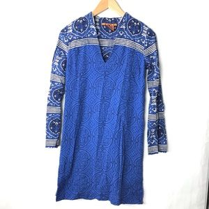 Tory Burch tunic shift dress blue printed 0